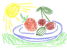 Useful product. Fruits and sun shining Royalty Free Stock Images