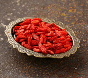 Useful red goji berries Royalty Free Stock Images