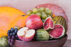 Useful ripe pumpkin with apples and grapes and ripe watermelon a Stock Images