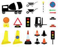 20 Road Works icons and signs Stock Photos