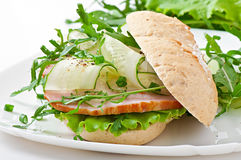 Useful sandwich with ham and herbs Royalty Free Stock Photo