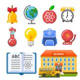 Useful school building, bus, book and objects stock photography