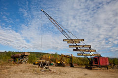 Useful scrap. Crane converted into scrap, and then converted to signpost Royalty Free Stock Photo