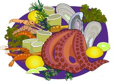 Useful seafood on a blue plaaate without backgeound vector illustration