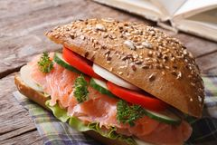 Useful snack: sandwich with salmon and vegetables Stock Image