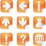 Useful square stickes. Useful navigation icon set on square stickers Royalty Free Stock Photos