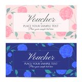 Voucher, Gift certificate, Coupon template with flowers Blue, Pink Roses and Green floral leaves pattern frame stock illustration