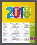 Useful Two-sided card calendar 2018 for wallet or pocket in full color. Size: 90mm x 55mm. English version Royalty Free Stock Photo