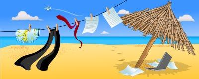 Useful Vacation. Illustration of sunshade umbrella ocean cloth hanging Stock Photos