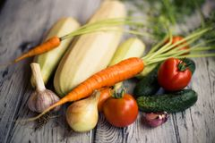 Useful vegetables. Ripe and tasty vegetables on the table. Stock Photo