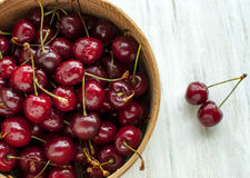 Useful vitamins. Berries of sweet cherry. Useful vitamins Stock Photo