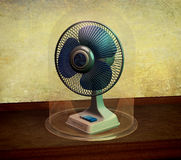 Useless cooler fan  under a glass bell, 3D rendering Royalty Free Stock Photo