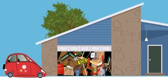 Useless garage filled with clutter. No room for a car in a garage of a hoarded, overfilled with stuff, EPS 8 vector illustration stock illustration