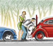 Useless Help. A man is helping to a woman for his broken car but fails Stock Images