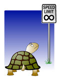 Useless options. Vector illustration of a turtle staring blankly at a speed limit infinity sign Stock Images