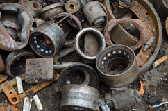 Useless, rusty bearings and other parts Stock Image