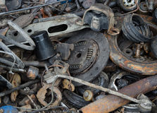 Useless, rusty brake discs shock absorber and other parts Stock Image