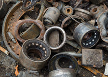 Useless, rusty brake discs shock absorber and other parts Stock Photography