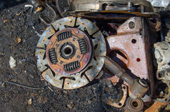 Useless,  rusty clutch discs and other parts Royalty Free Stock Image