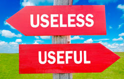 Useless and usefull. Choice showing strategy change or dilemmas Stock Images