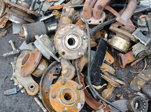 Useless, worn out rusty brake discs Royalty Free Stock Images