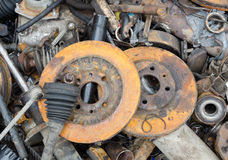 Useless, worn out rusty brake discs Stock Image