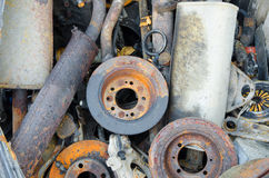 Useless, worn out rusty brake discs and other Stock Images