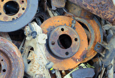 Useless, worn out rusty brake discs and other Stock Image