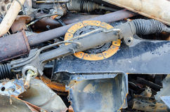 Useless, worn out rusty brake discs and other Stock Photo