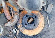 Useless, worn out rusty brake discs Royalty Free Stock Photography