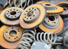 Useless, worn out and rusty brake discs Stock Images