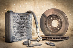 Useless, worn out and rusty suspension car parts Royalty Free Stock Photography