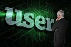 User against green and black circuit board Royalty Free Stock Image