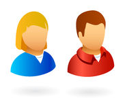 User avatars male and female. Profile avatars or icons for users on social networks and communities Royalty Free Stock Photos