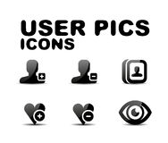 User black glossy icon set. Vector illustration Royalty Free Stock Images