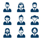 User black icons set. User black icons set - businessman, customer service, staff avatars Stock Photography