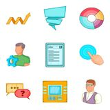 User card icons set, cartoon style. User card icons set. Cartoon set of 9 user card vector icons for web isolated on white background Stock Photography