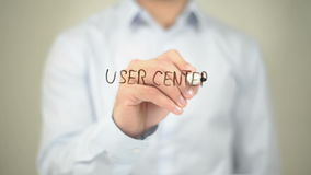 User Center Design, Man Writing on Transparent Screen stock footage