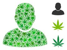 User Collage of Hemp Leaves. User composition of marijuana leaves in various sizes and green hues. Vector flat hemp leaves are composed into user composition Royalty Free Stock Photos