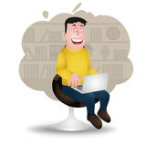 User. Computer user, vector cartoon, freelancer character, character design Stock Image