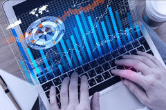 User concept. Close up of male hands using laptop with digital business projection. User concept Stock Images