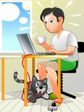 User and crazy cat. Animal in home can be angry stock illustration