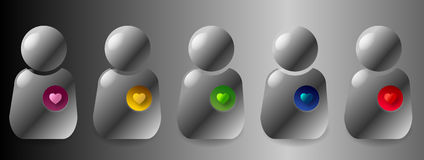 User emotions. Web 2.0 rounded user with different with different emotions: in-love heart, golden heart, jealous heart, ice cold heart, passionate heart stock illustration