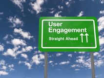 User engagement. Road sign illustration stock photo