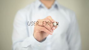 User Experience Design, Man Writing on Transparent Screen stock footage