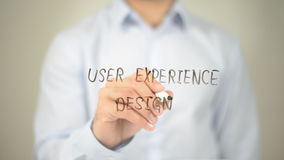 User Experience Design, Man Writing on Transparent Screen Royalty Free Stock Photos