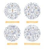 User Experience Doodle Illustrations. Doodle illustrations of creating user-centered design of website, web application or desktop software. Concepts of user vector illustration