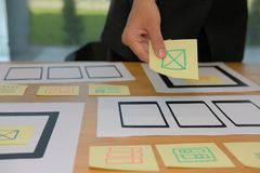 User experience UX designer designing web on smartphone tablet l. User experience, UX designer designing web on smart phone tablet layout. UI planning mobile royalty free stock photos