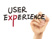 User experience words written by 3d hand Stock Images