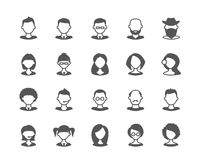 User faces set of flat vector icons. Flat vector icons of user faces. Fully scalable Royalty Free Stock Photography